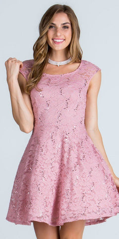 Lace Cap Sleeves Short Cocktail Dress Boat Neckline Blush