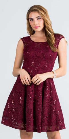 La Scala 24111 Lace Cap Sleeves Short Cocktail Dress Boat Neckline Burgundy