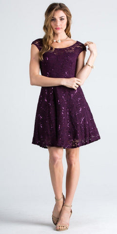 Lace Cap Sleeves Short Cocktail Dress Boat Neckline Eggplant
