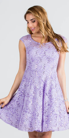 La Scala 24111 Lace Cap Sleeves Short Cocktail Dress Boat Neckline Lilac