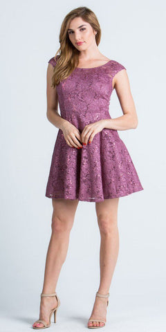 La Scala 24111 Lace Cap Sleeves Short Cocktail Dress Boat Neckline Mauve
