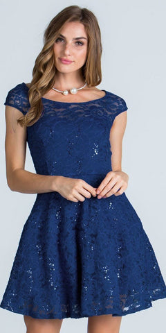 La Scala 24111 Lace Cap Sleeves Short Cocktail Dress Boat Neckline Navy Blue