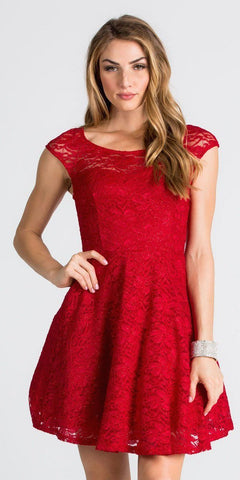 Lace Cap Sleeves Short Cocktail Dress Boat Neckline Red