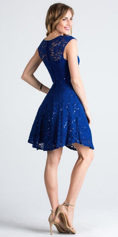 Lace Cap Sleeves Short Cocktail Dress Boat Neckline Royal Blue