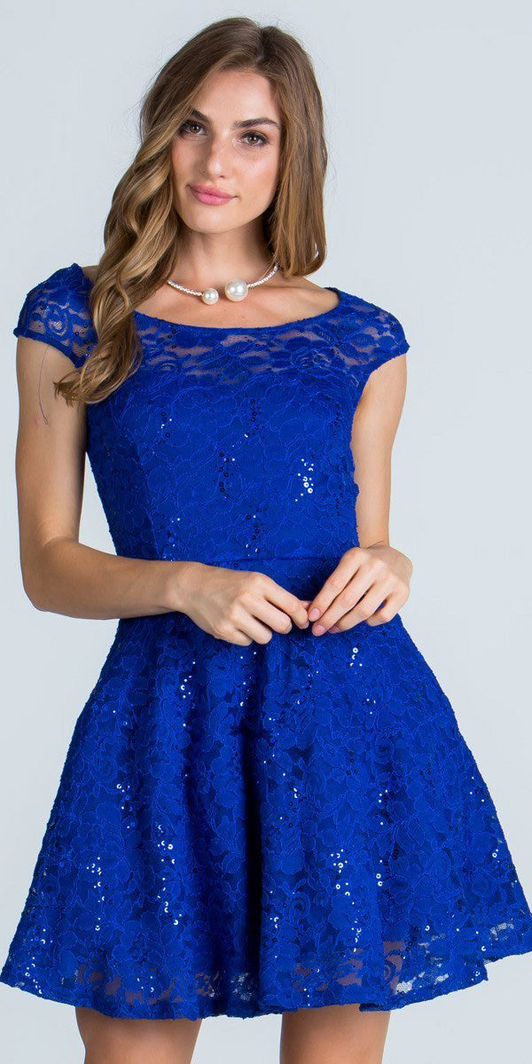 6399061f37 Lace Cap Sleeves Short Cocktail Dress Boat Neckline Red. Royal Blue ...