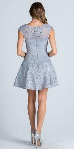 Lace Cap Sleeves Short Cocktail Dress Boat Neckline Silver Back