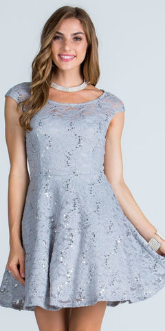 Lace Cap Sleeves Short Cocktail Dress Boat Neckline Silver