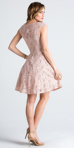 Lace Cap Sleeves Short Cocktail Dress Boat Neckline Taupe Back