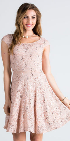 Lace Cap Sleeves Short Cocktail Dress Boat Neckline Taupe