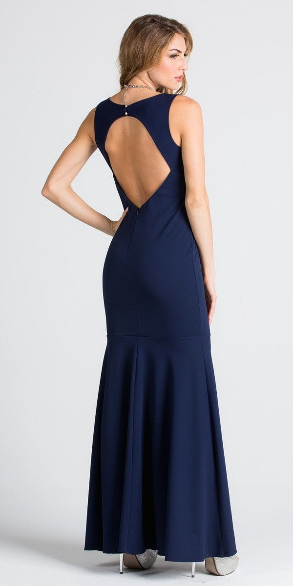 Navy Blue Cut Out Back Mermaid Evening Gown With Keyhole