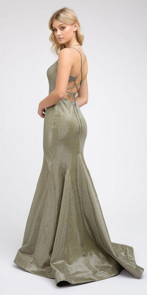 Metallic Gold Mermaid Long Prom Dress Lace-Up Back