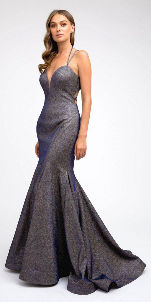 Royal Blue/Gold Mermaid Long Prom Dress Lace-Up Back with Train