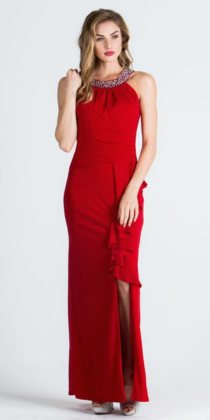 Embellished Neck Long Formal Column Dress with Drape and Slit Red