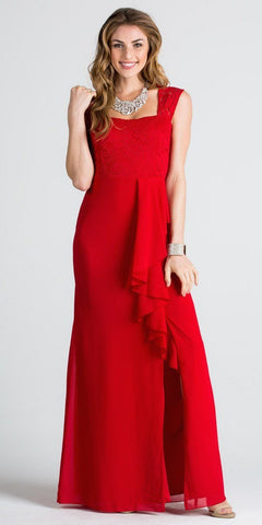 Red Square Neck Long Formal Dress with Drape and Slit