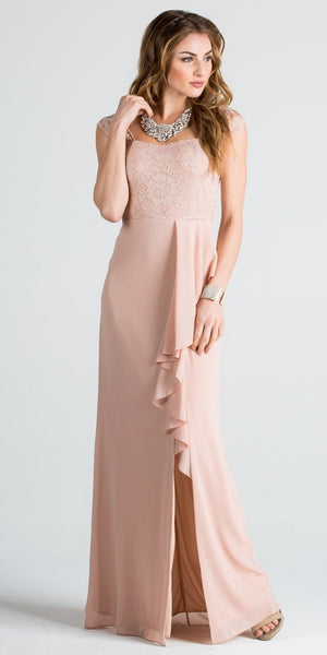 Taupe Square Neck Long Formal Dress with Drape and Slit