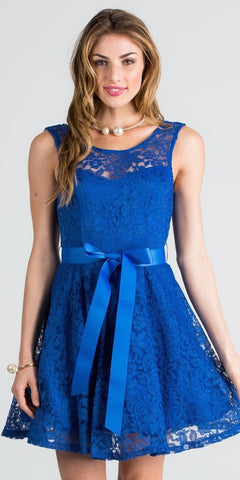 V-Shape Back Short Cocktail Dress with Ribbon Sash Belt Royal Blue