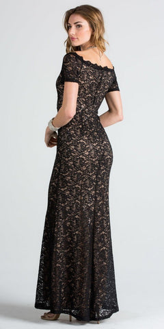 Short Sleeves Off Shoulder Long Formal Dress Fit and Flare Black/Nude