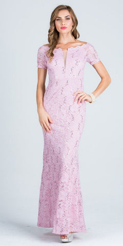Short Sleeves Off Shoulder Long Formal Dress Fit and Flare Pink
