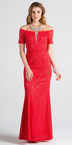 Short Sleeves Off Shoulder Long Formal Dress Fit and Flare Red
