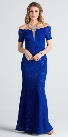 Short Sleeves Off Shoulder Long Formal Dress Fit and Flare Royal Blue