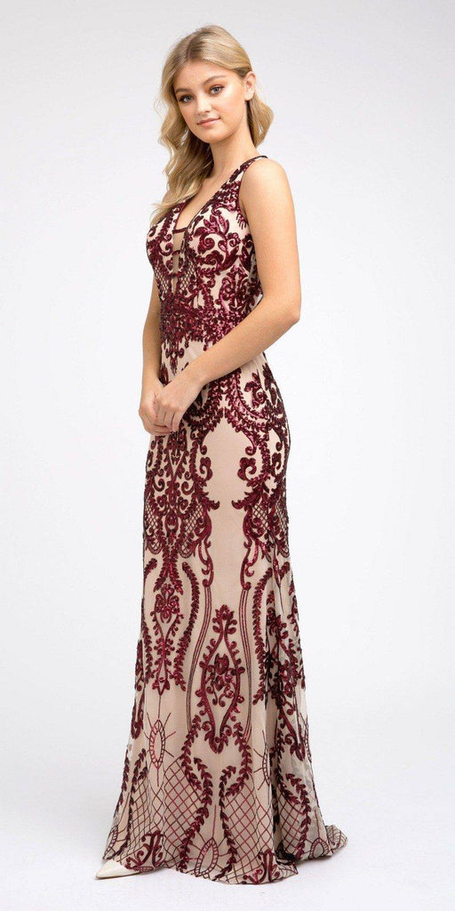 Burgundy Sequins Long Prom Dress Cut-Out Back