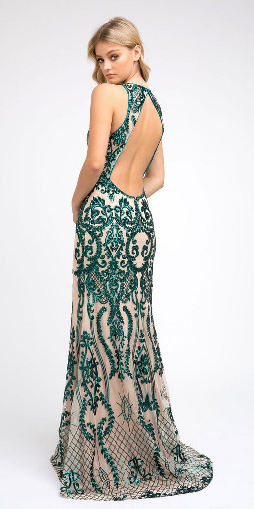 Green Sequins Long Prom Dress Cut-Out Back