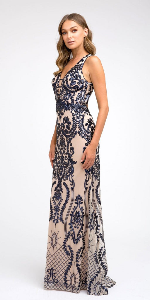 Navy Blue Sequins Long Prom Dress Cut-Out Back