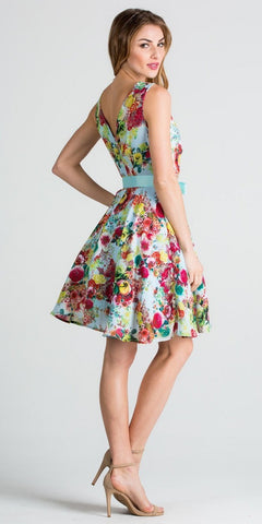 Knee-Length Mint Print Cocktail Dress with Ribbon Sash Belt