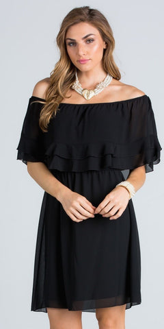 Ruffled Off Shoulder Cocktail Dress Above Knee Black