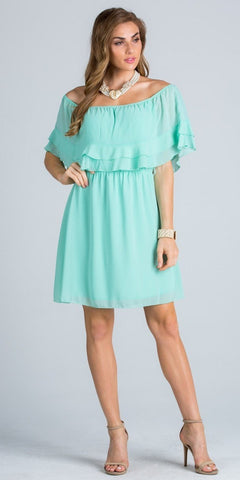 Ruffled Off Shoulder Cocktail Dress Above Knee Mint