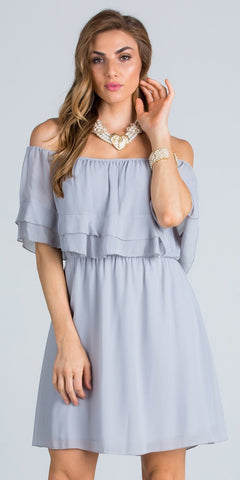 Ruffled Off Shoulder Cocktail Dress Above Knee Silver