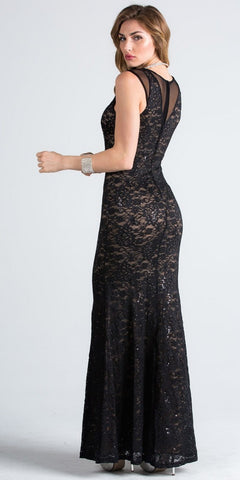 Black Nude Sleeveless Fit and Flare Evening Gown with Illusion Inset