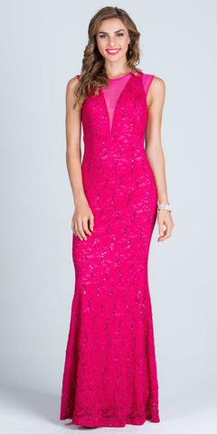 Fuchsia Sleeveless Fit and Flare Evening Gown with Illusion Inset
