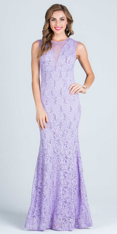 Lilac Sleeveless Fit and Flare Evening Gown with Illusion Inset