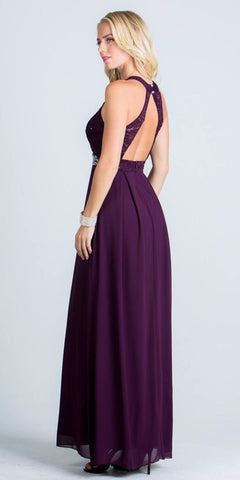 La Scala 24334 Empire Embellished Waist Cut Out Back Long Formal Dress Eggplant Back View