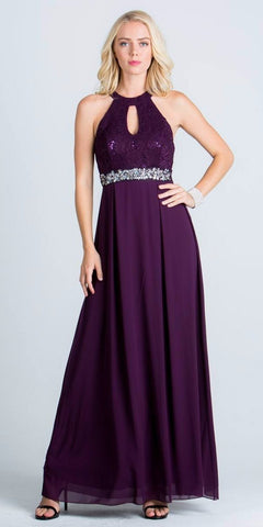 La Scala 24334 Empire Embellished Waist Cut Out Back Long Formal Dress Eggplant