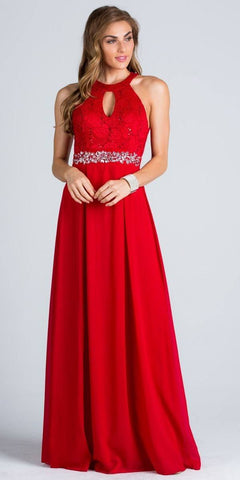 Empire Embellished Waist Cut Out Back Long Formal Dress Red