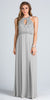Empire Embellished Waist Cut Out Back Long Formal Dress Silver