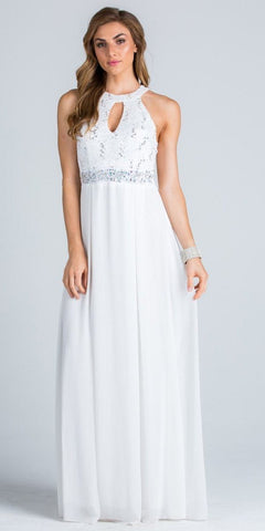 Empire Embellished Waist Cut Out Back Long Formal Dress White