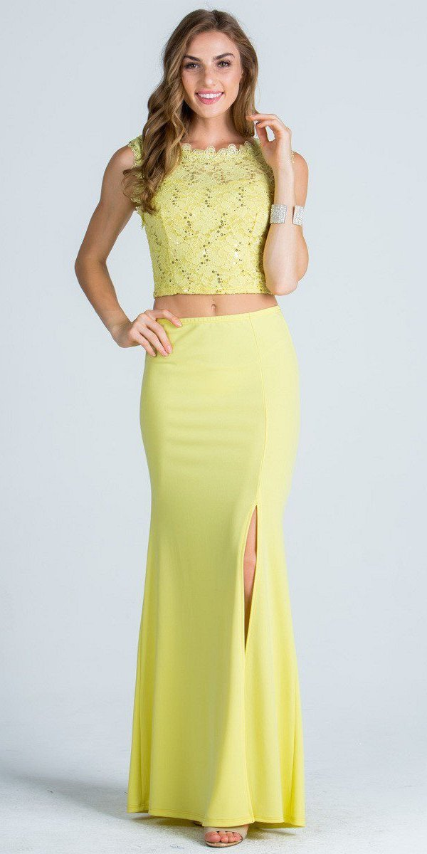0ce46032858 Yellow Sleeveless Crop Top Long Two-Piece Prom Dress with Slit ...