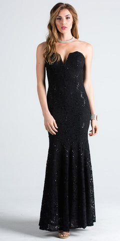 Strapless with V-Notch Fit and Flare Evening Gown Black
