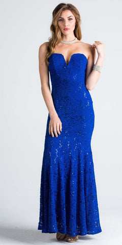 Strapless with V-Notch Fit and Flare Evening Gown Royal Blue