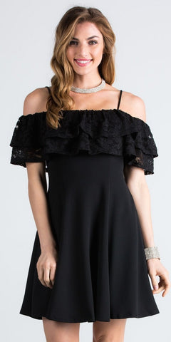 Short Homecoming Dress Ruffled Off Shoulder with Strap Black