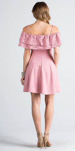 Short Homecoming Dress Ruffled Off Shoulder with Strap Blush