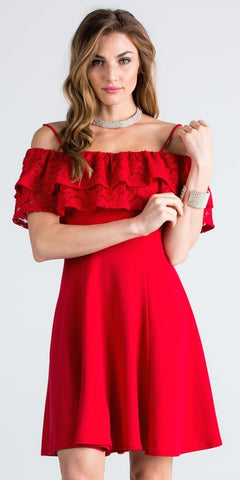 Short Homecoming Dress Ruffled Off Shoulder with Strap Red