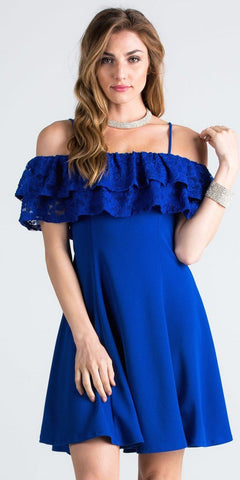 Short Homecoming Dress Ruffled Off Shoulder with Strap Royal Blue