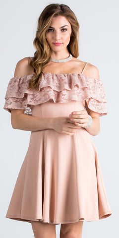Short Homecoming Dress Ruffled Off Shoulder with Strap Taupe