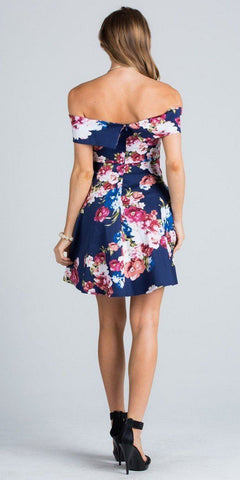 Navy Floral Print V-Notch Off Shoulder Homecoming Short Dress