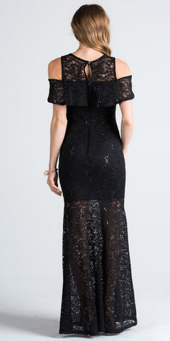 Lace Cold Shoulder Mermaid Style Long Formal Dress Black