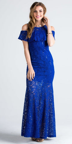 Lace Cold Shoulder Mermaid Style Long Formal Dress Royal Blue
